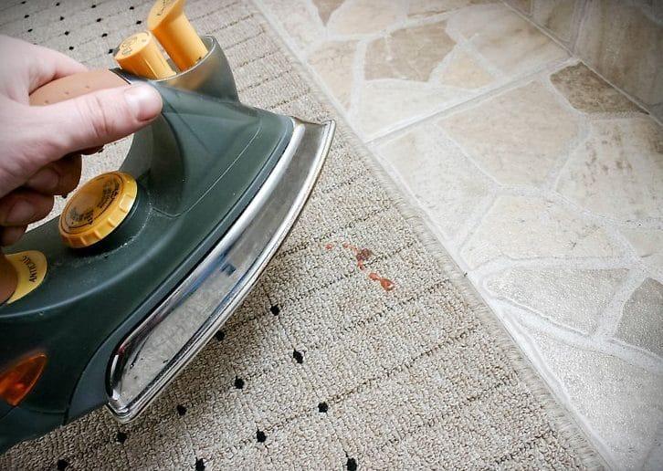 удаление воска с ковров